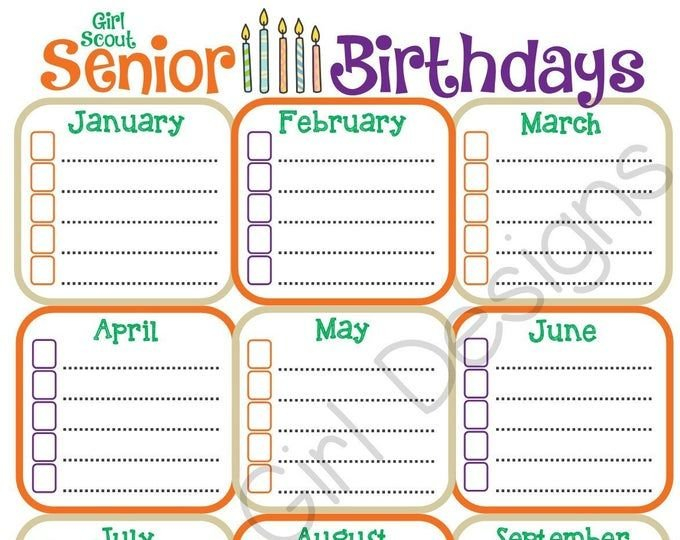 Daisy Girl Scout Birthday Calendar Troop Fillable Fillable Birthday Calendar Template