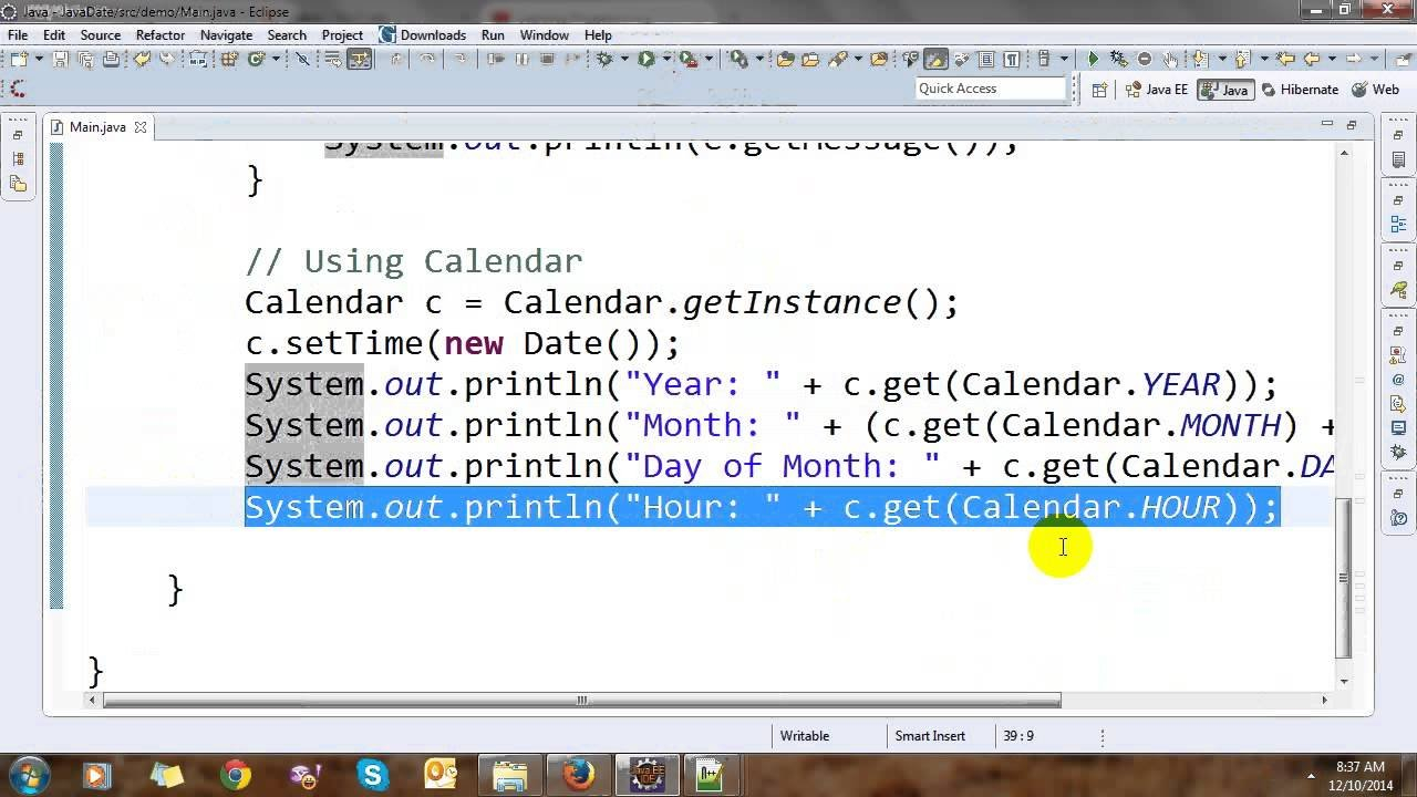 Date, Calendar And Time In Java - Youtube Day Calendar With Times