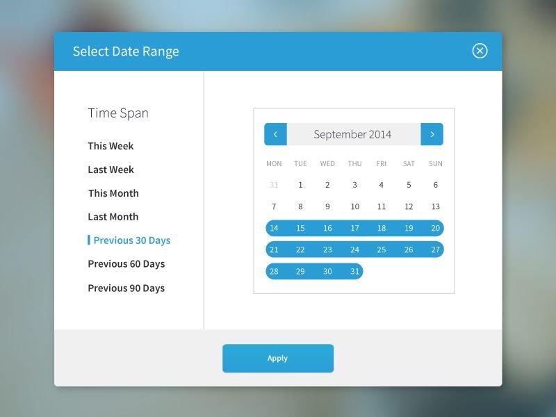 Date Range Selector | カレンダー Custom Date Range Calendar