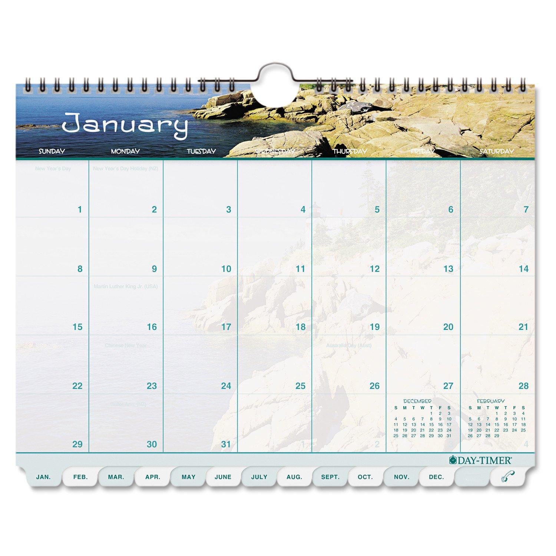 Day-Timer Coastlines Tabbed 12-Month Wirebound Wall 8 1/2 11 Dayplanner Calendar