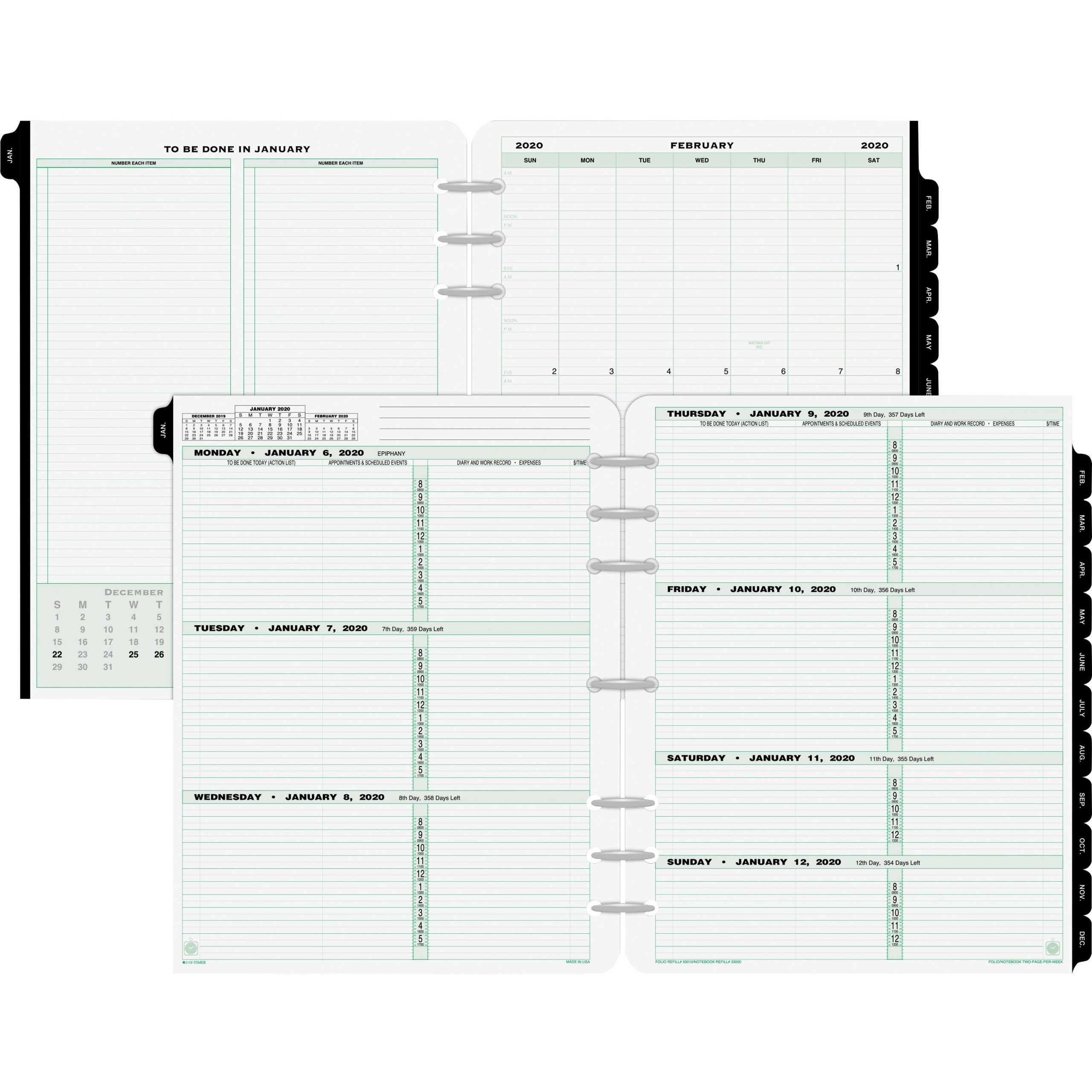 Day-Timer Original Planner Folio Size Refill - Weekly - 1 8 1/2 11 Dayplanner Calendar