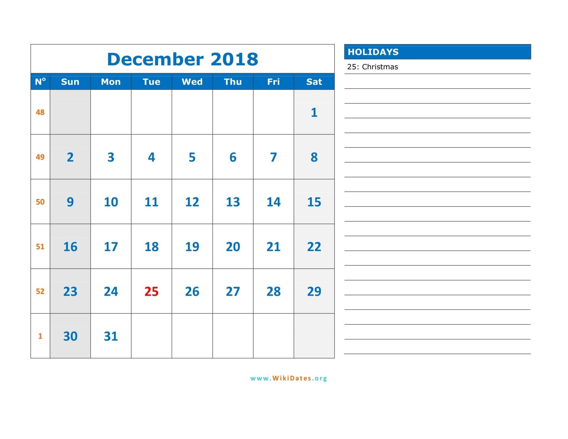 December 2018 Calendar | Wikidates 1 Week Calendar Pdf