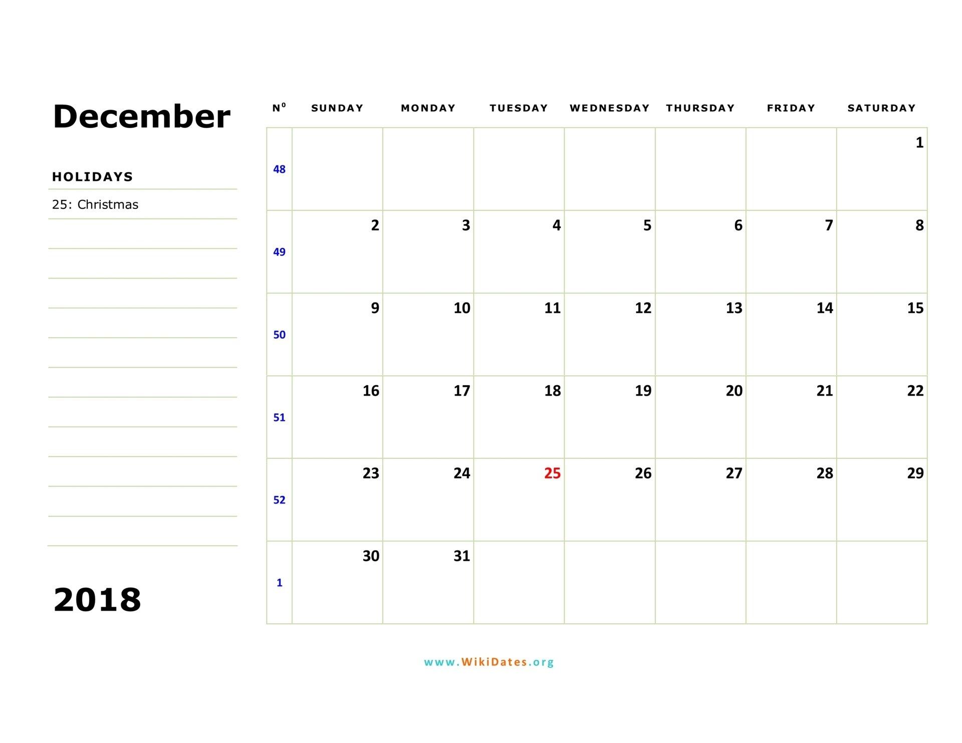 December 2018 Calendar | Wikidates Free Weekly Numbered 52 Week Calendar Printable