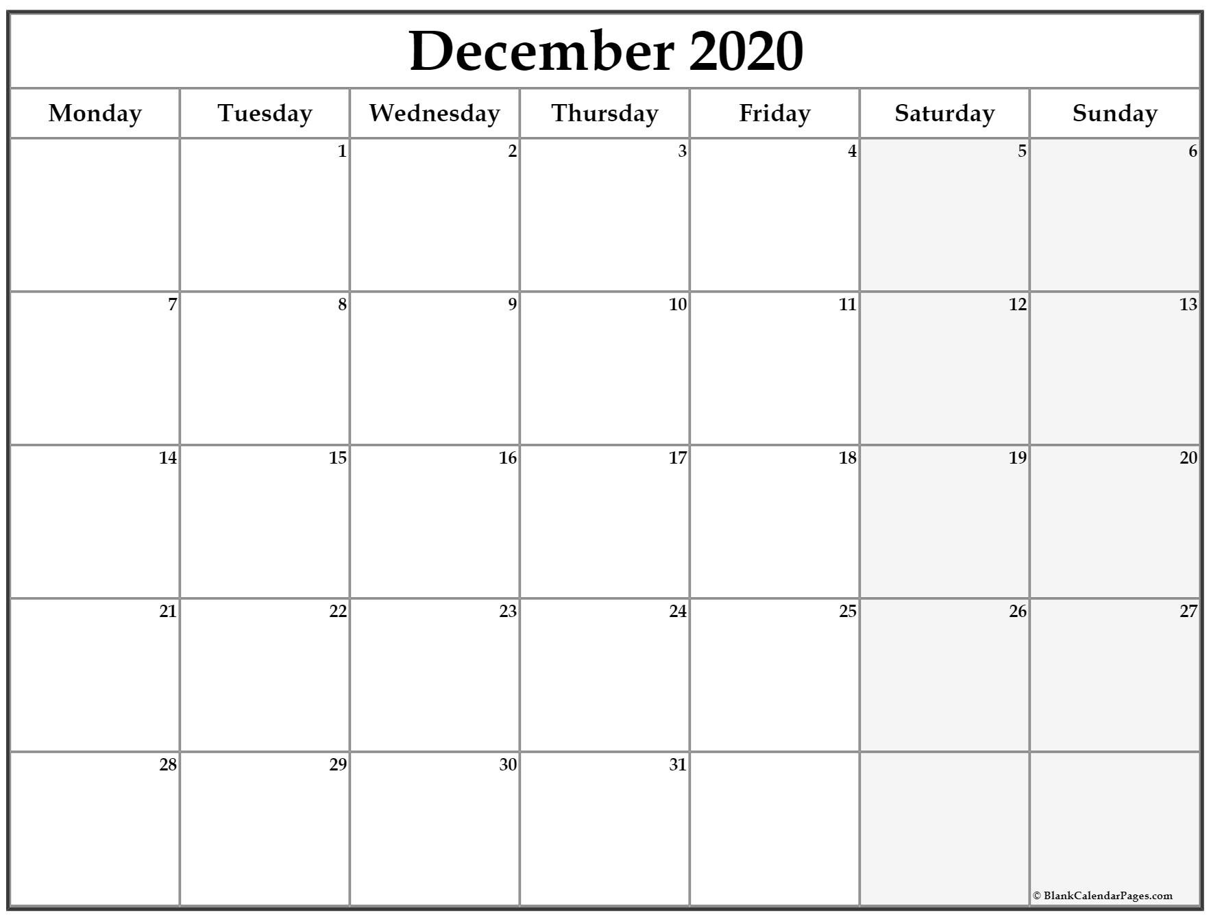 December 2020 Monday Calendar | Monday To Sunday Monday Through Sunday Planner