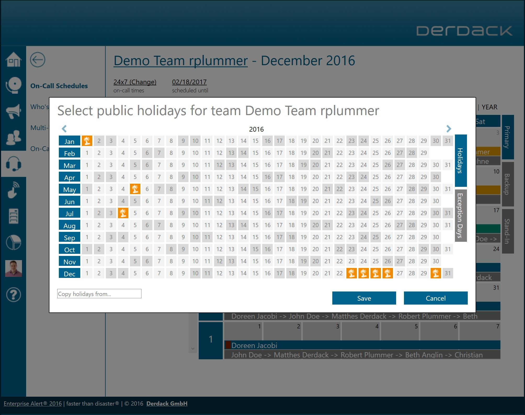 Derdack | On-Call Schedule Management With Auto-Rotation Rotational On Call Calendar Example