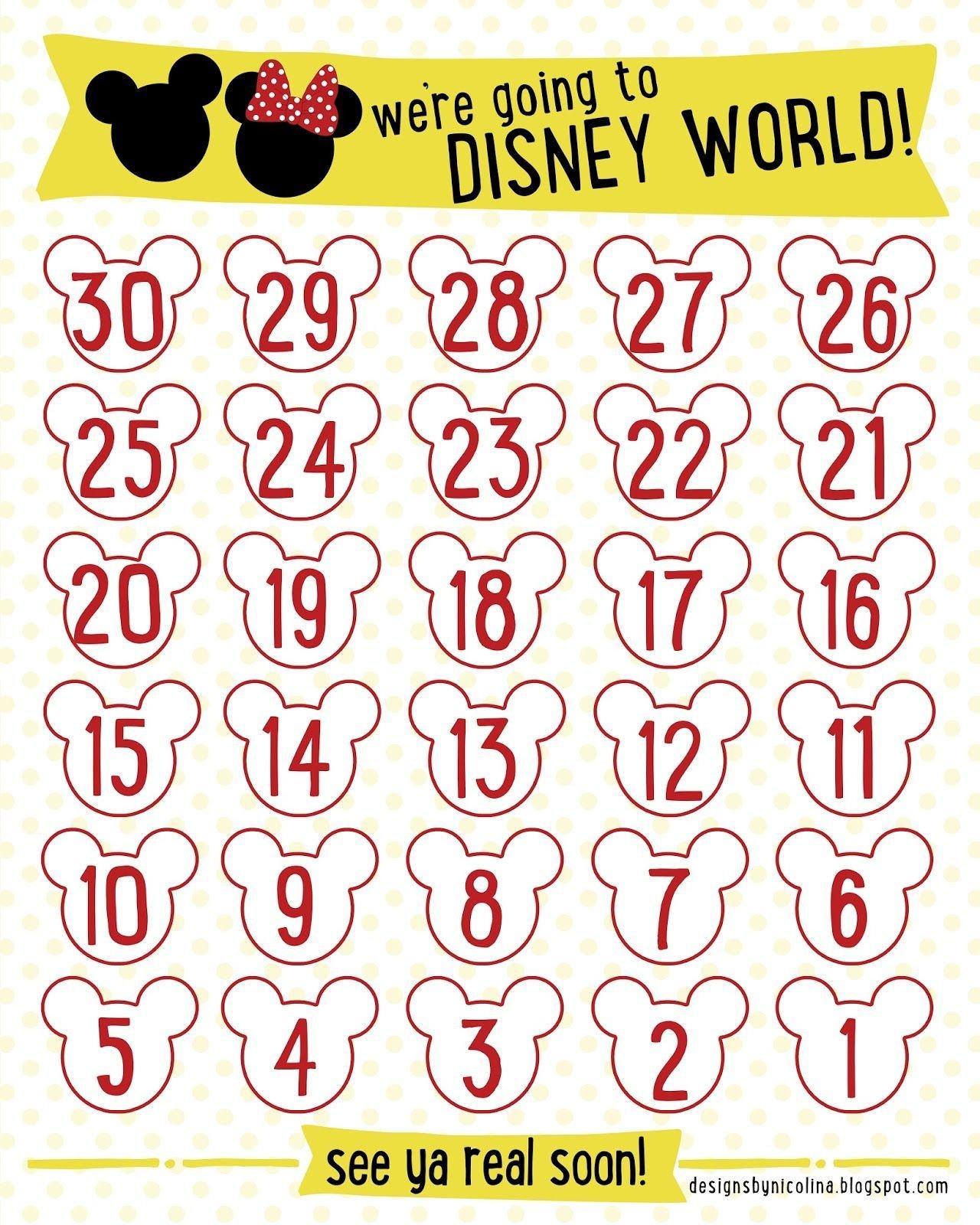 Designsnicolina: Disney Countdown! /// Free Printable Pregnancy Countdown Calendar Printable Free