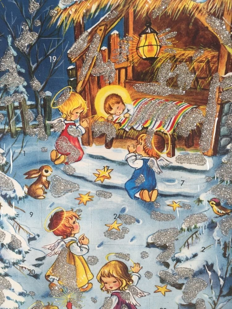 Details About Kruger Xmas Nativity Angels Glitter Advent Cross Cards Lune Calebders