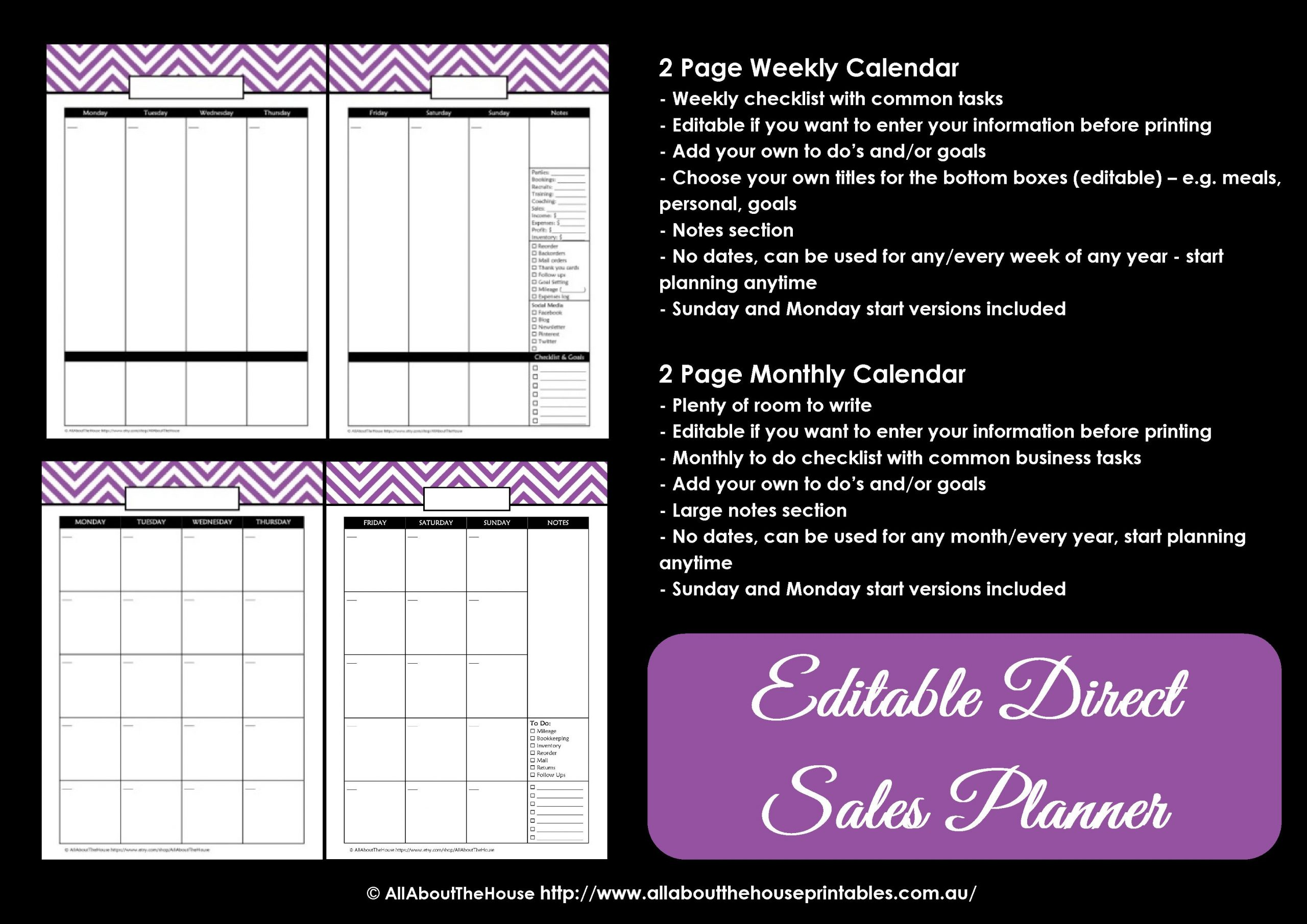 Direct Sales Planner – Editable | Allaboutthehouse Printables Editable One Week Calendar