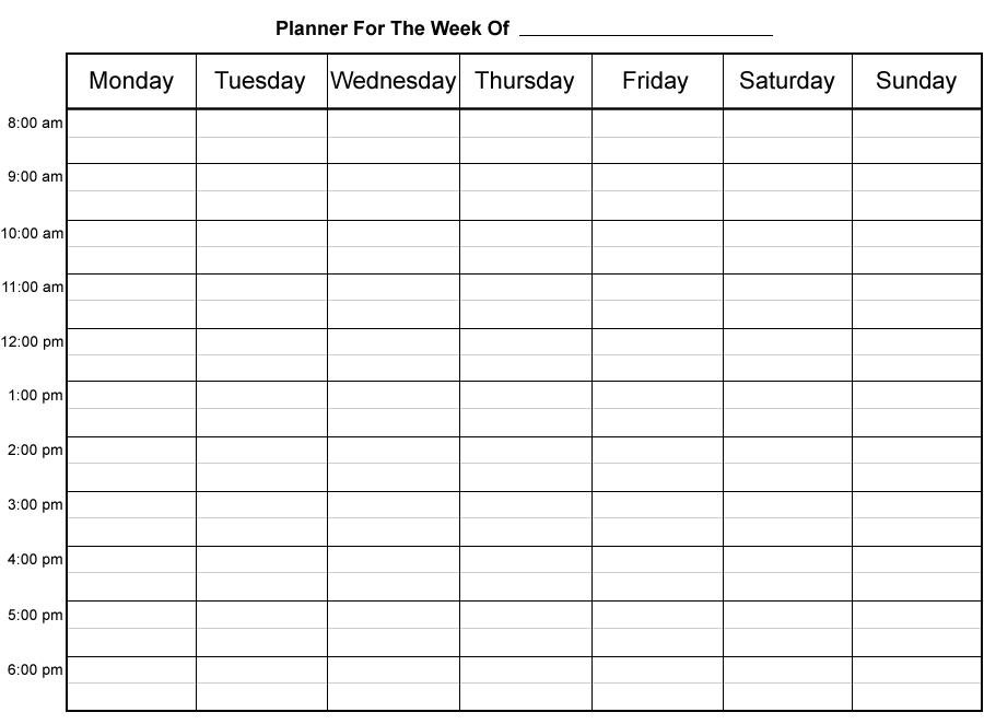 Do-It-Yourself Printable Weekly Planner - Fun With Printer Simple Weekly X5 Calendar Template