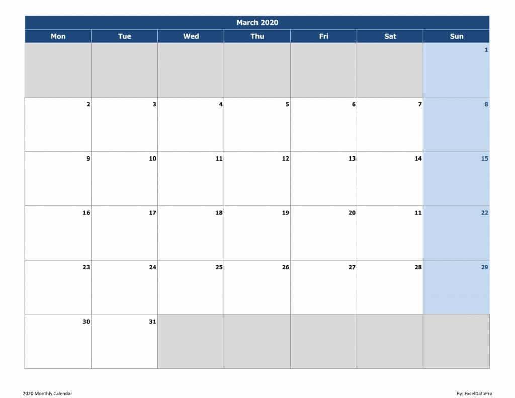 Download 2020 Monthly Calendar (Mon Start) Excel Template 2 Week Calendar March