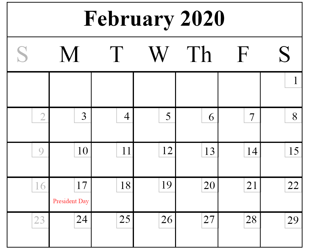 Download February 2020 Printable Calendar In Pdf,Excel Free Printable Monthly Calendar Without Download
