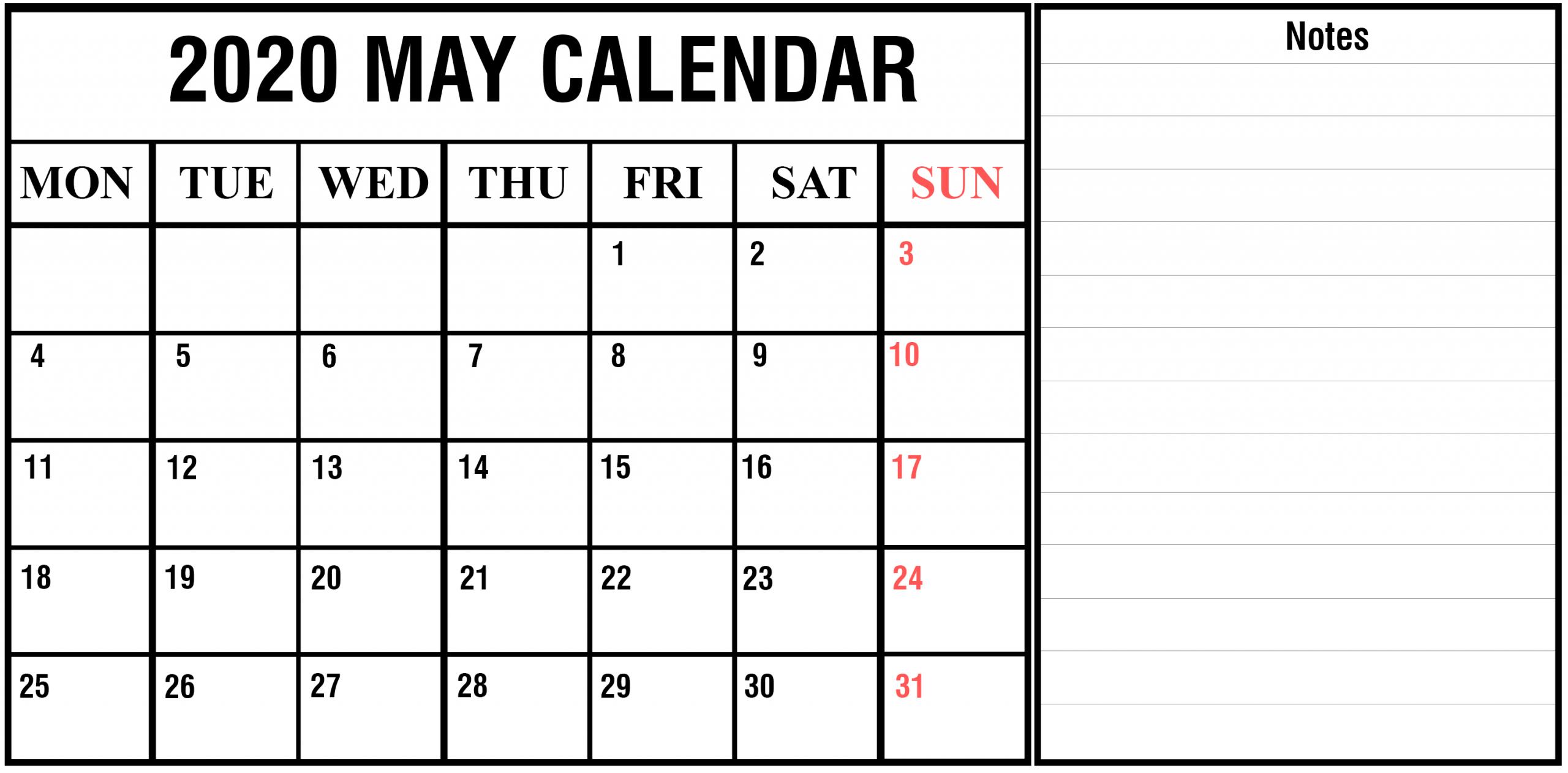 Download Free Blank May 2020 Printable Calendar [Pdf Free Online Printable Calendar Without Downloading