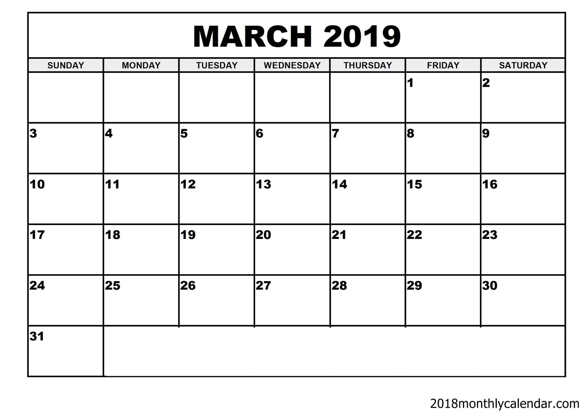 Download March 2019 Calendar – Blank Template - Editable Blank 31 Day Calendar Form