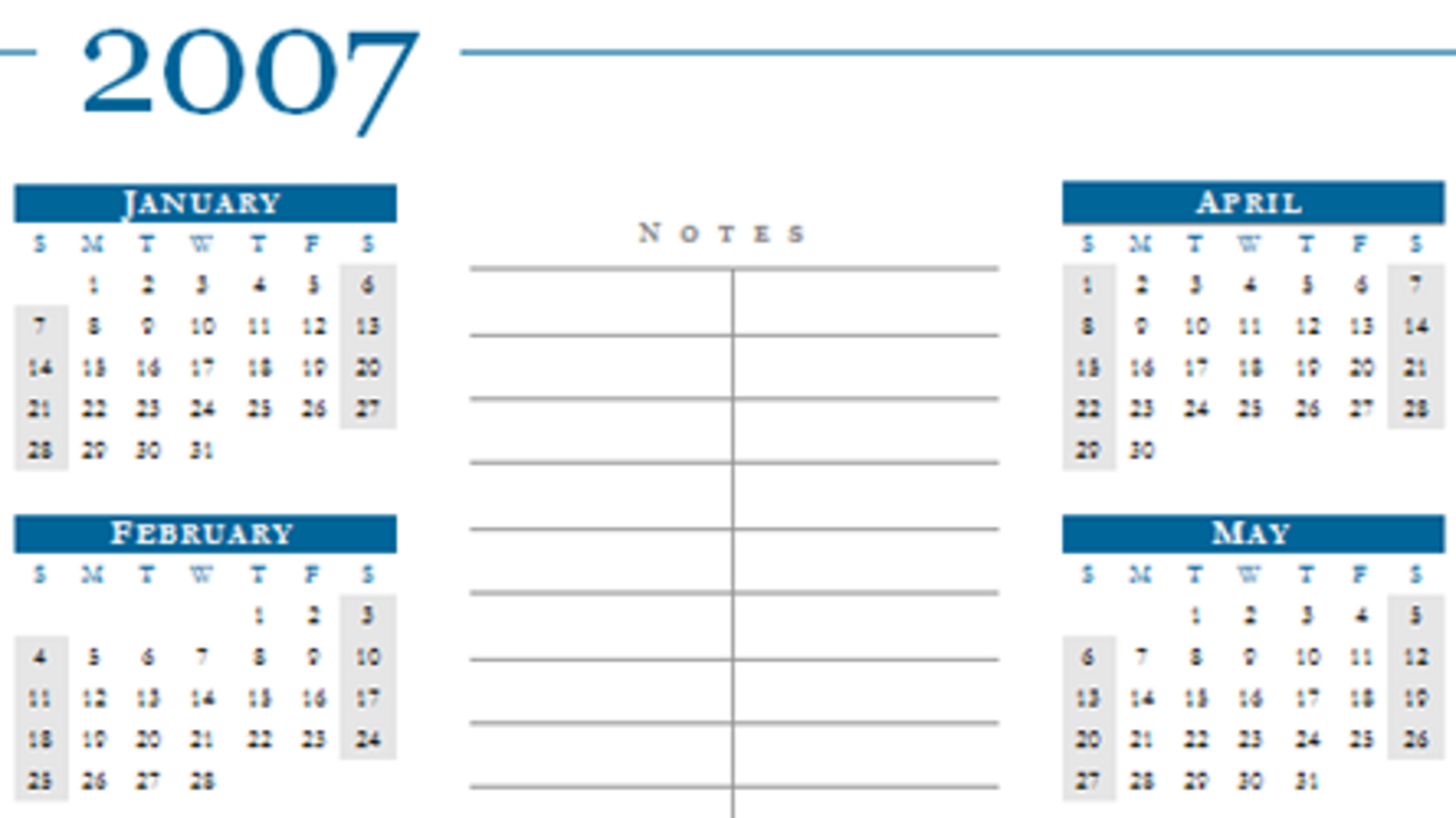 Download Of They Day: 2007 Calendar Word Templates Calendar You Can Edit Online