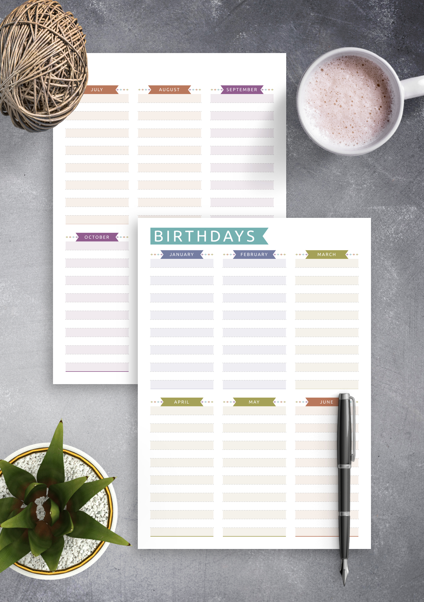Download Printable Birthday Calendar - Casual Style Pdf Editable Birthday Calendar Template Free