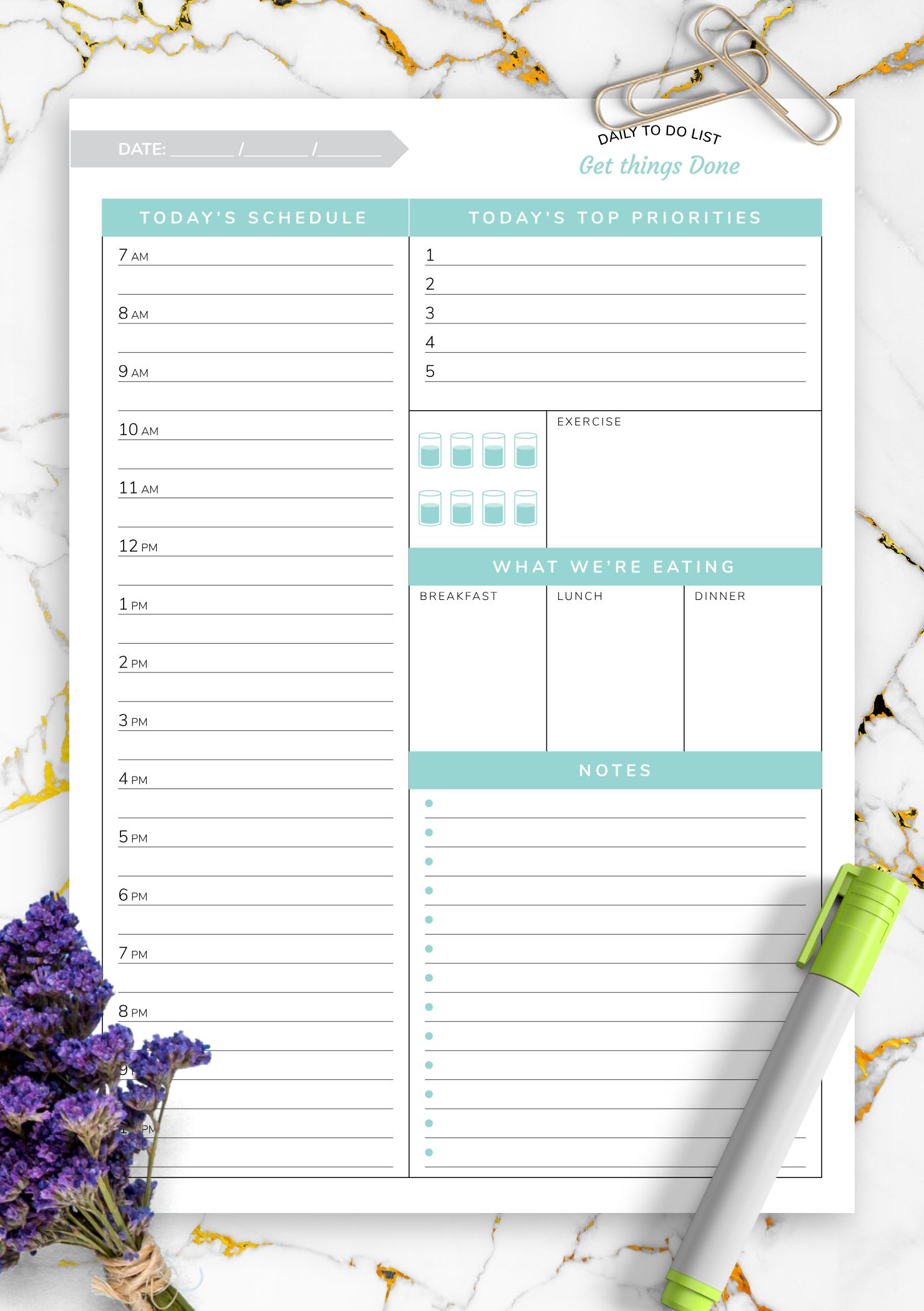 Download Printable Daily Hourly Planner Template - Get Printable Daily Hourly Schedule