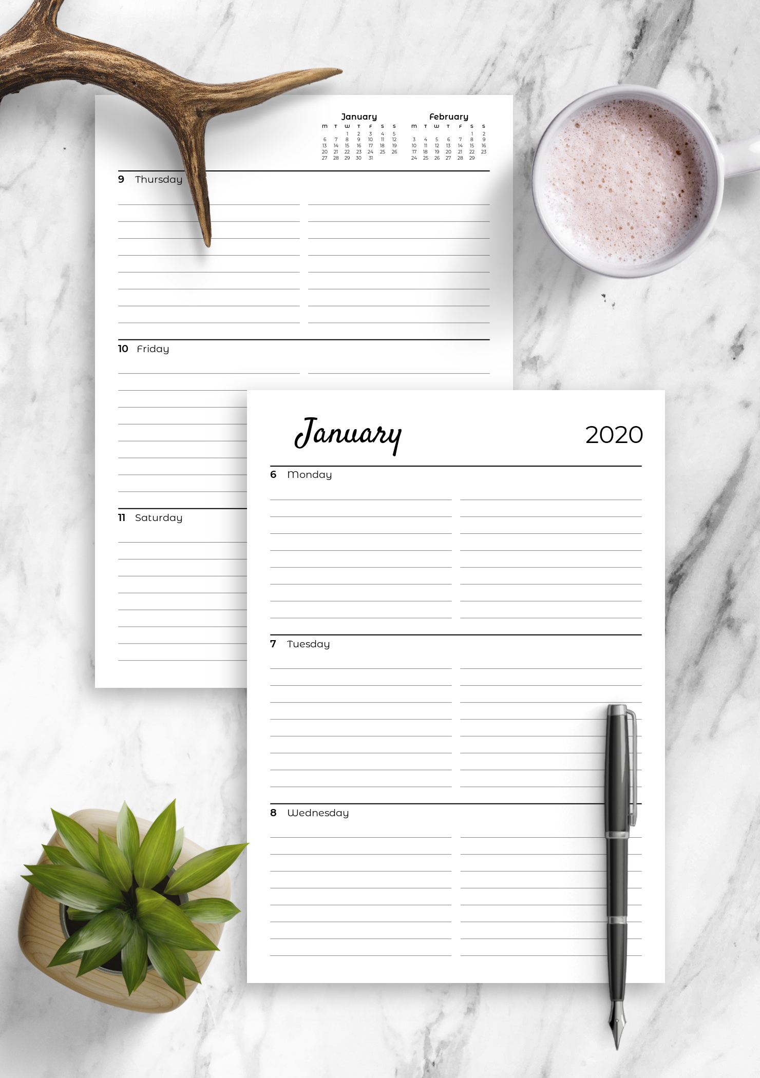 Download Printable Lined Weekly Planner With Calendar Pdf Free Printable Lined Monthly Calendars