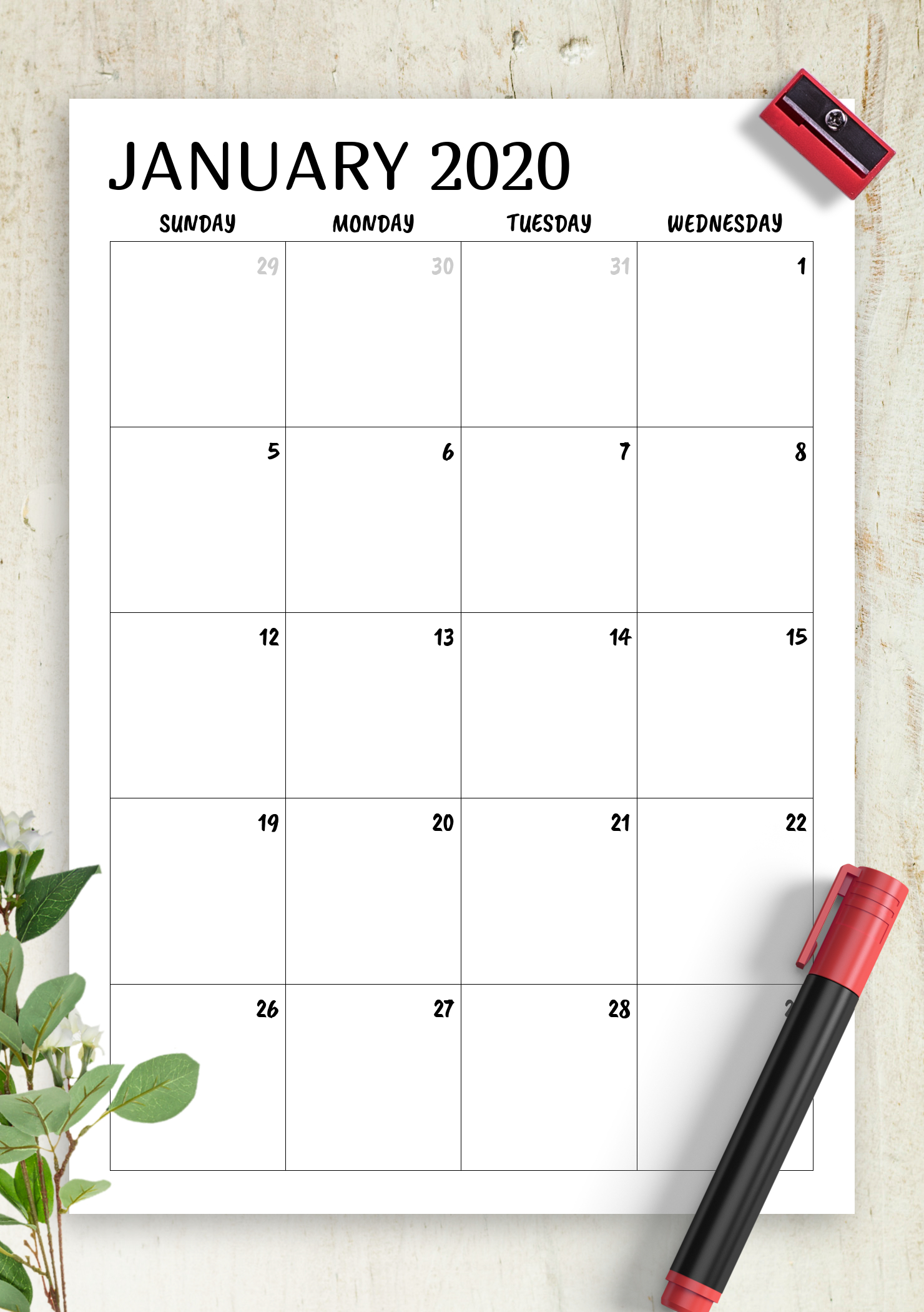 Download Printable Minimal Monthly Calendar Pdf 1 Week Calendar Template Pdf