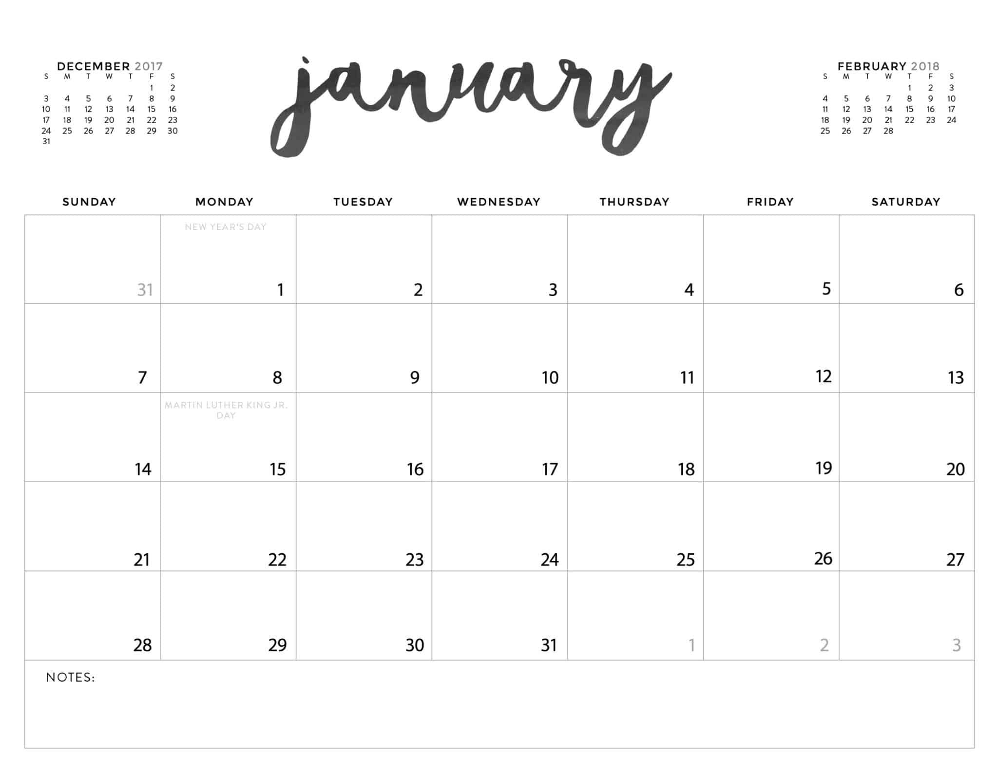 Download Your Free 2018 Printable Calendars Today! 28 Image Of Month Calendar