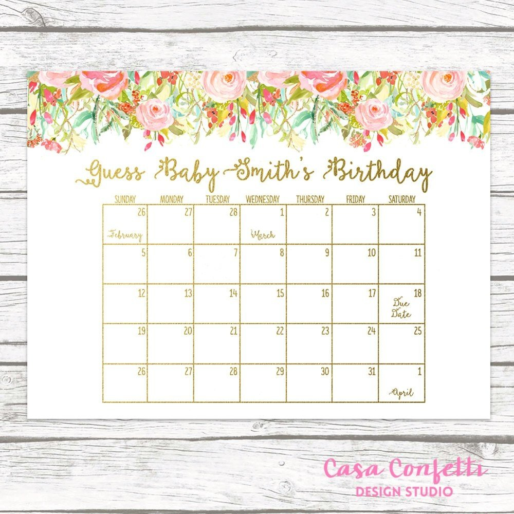 Due Date Calendar | Qualads Printable Due Date Guess