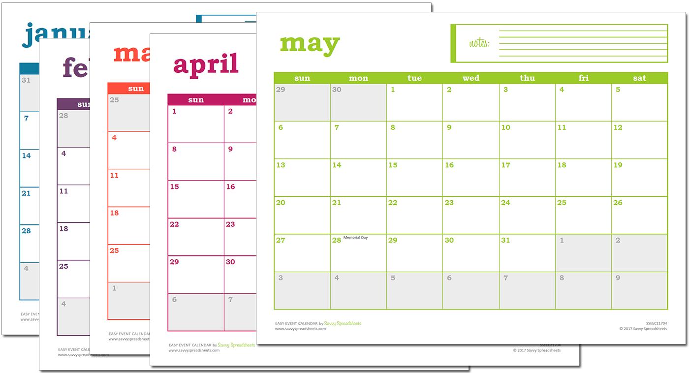 Easy Event Calendar - Excel Template | Excel Calendar Simple Weekly X5 Calendar Template