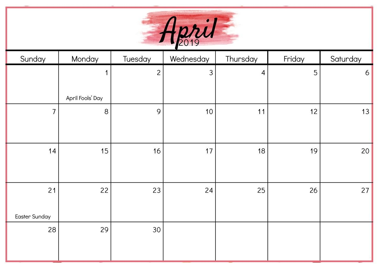 Editable April 2019 Word Calendar Templates | Calendar Calendar 2 Week Block Printable Free April