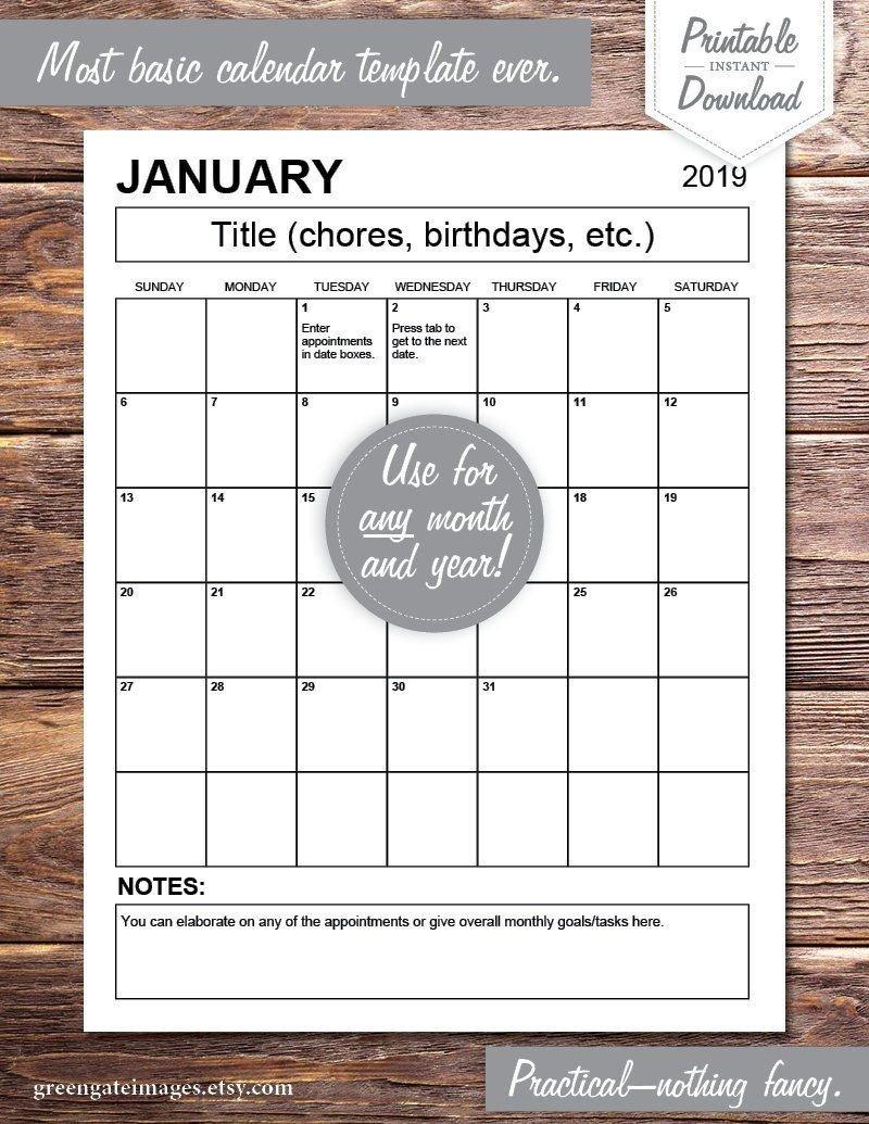 Editable Calendar Pdf: Any Year, Fillable, Printable Fillable Birthday Calendar Template