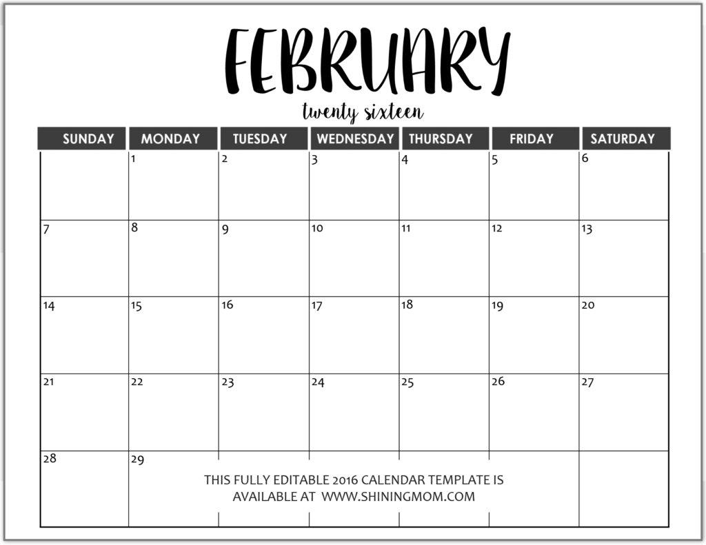 Editable Free Blank Monthly Calendar Template - Calendar Free Editable Monthly Calendar Teachers