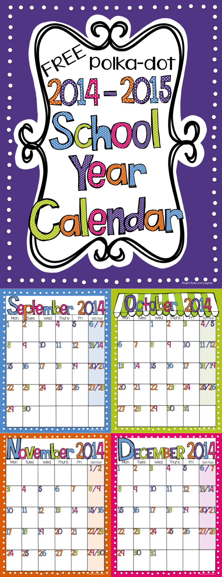 Editable Free Bright Polka Dot Monthly Calendars 2019-2020 Free Editable Calendars For School
