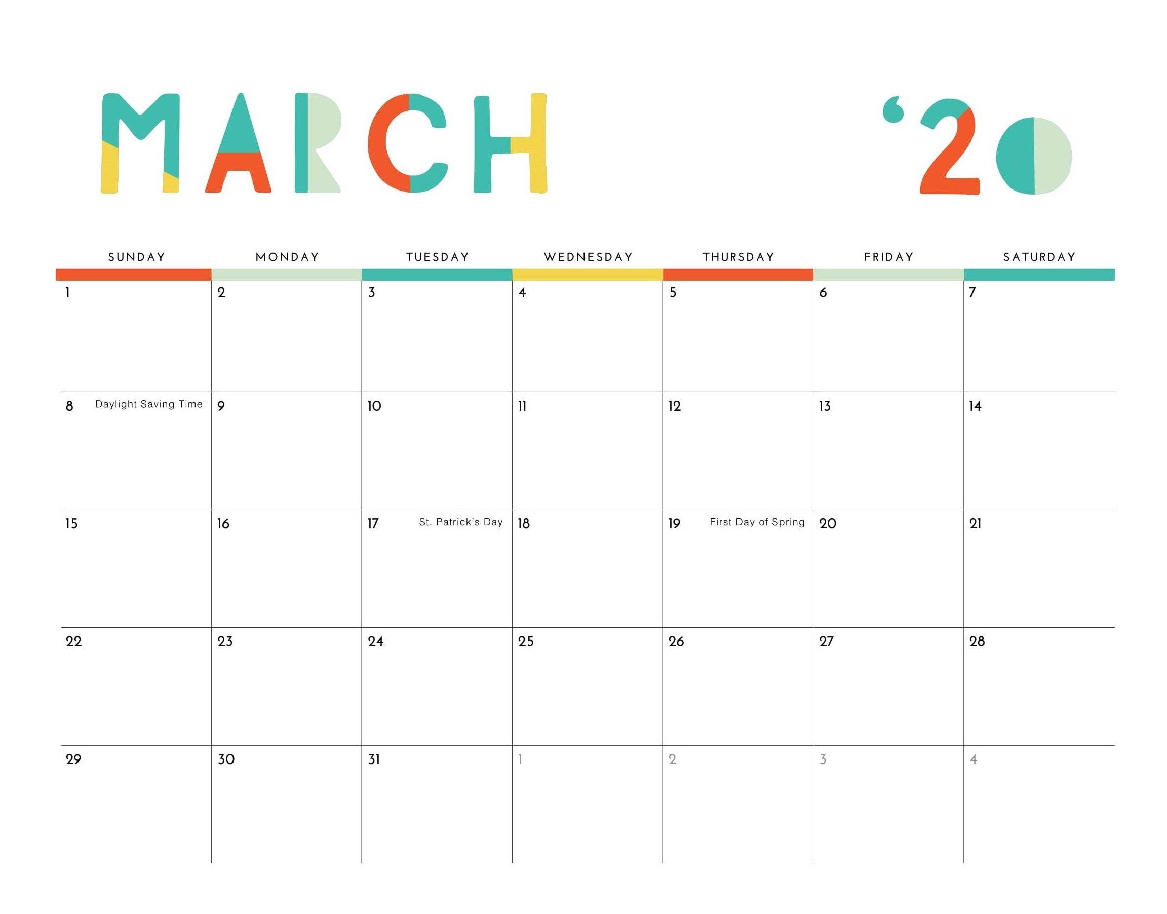 Editable March 2020 Calendar | Calendar 2020 April Calendar That Can Be Edit