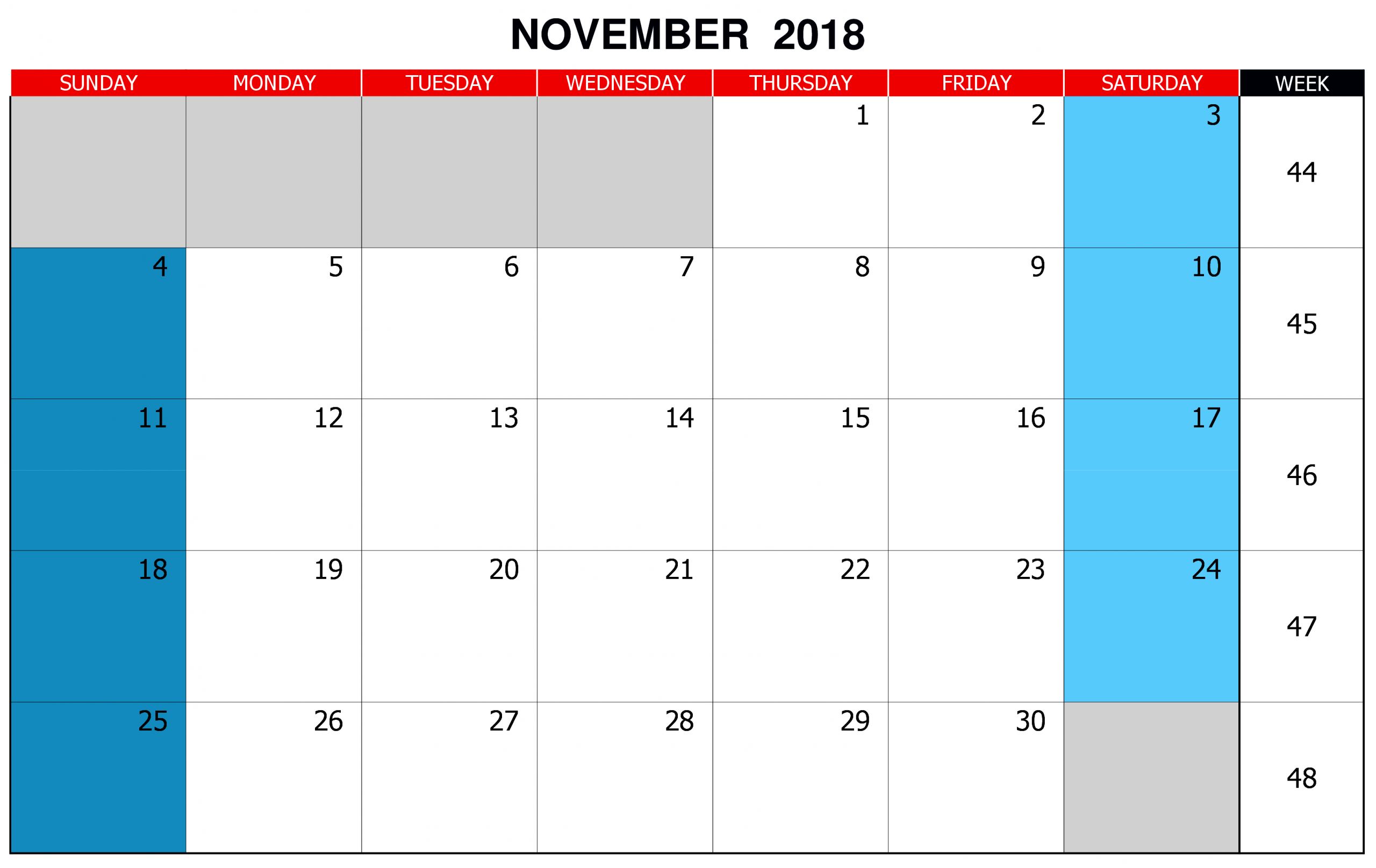 Editable November 2018 Calendar | 2019 Calendar, November Calendars You Can Edit Online