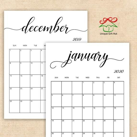 Editable Printable 2019,2020 Clean And Simple Desk Calendars I Can Edit