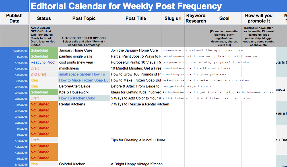 Editorial Calendar Template | Cyberuse Content Calendar For Member Newsletters