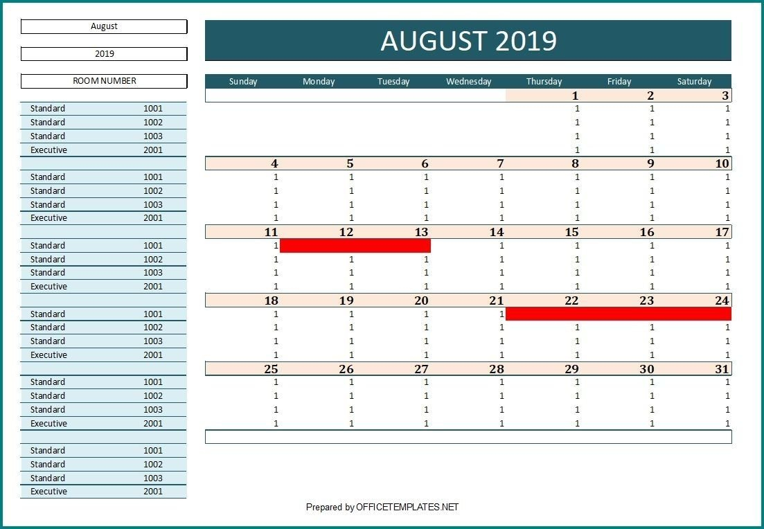 Effective Free Excel Booking Calendar Template For Certain Booking And Reservation Calendar Excel Template
