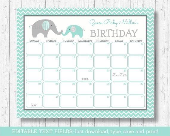 Elephant Birthday Predictions Calendar / Baby Due Date Editable Birthday Calendar Template Free