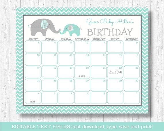 Elephant Birthday Predictions Calendar / Baby Due Date Guess The Baby Due Date Elephant Calendar