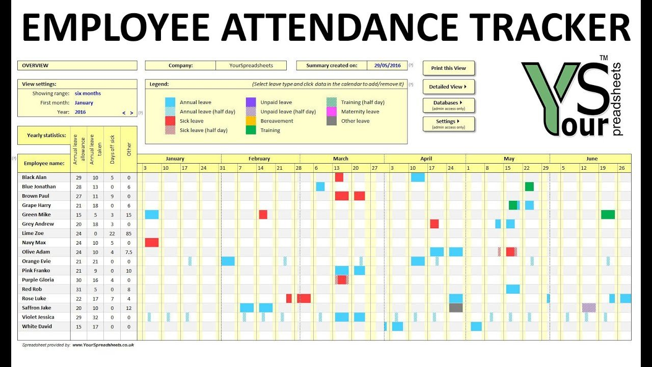 Employee Attendance Tracker Spreadsheet - Youtube Time Off Calendar In Excel