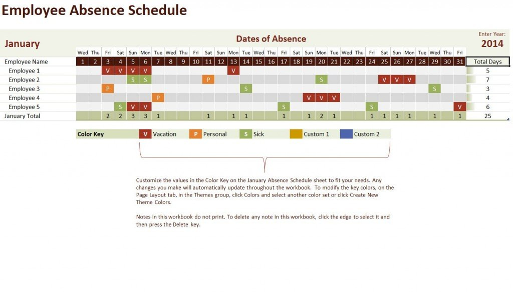 Employee Vacation Calendar Template Time Off Calendar In Excel