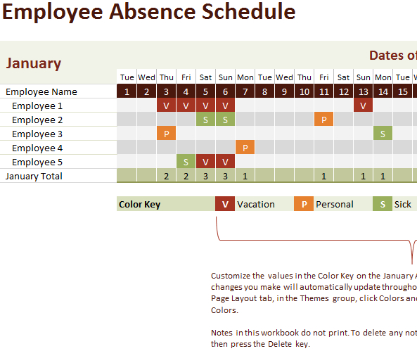 Employee Vacation Tracking Calendar Template Time Off Calendar Excel Template
