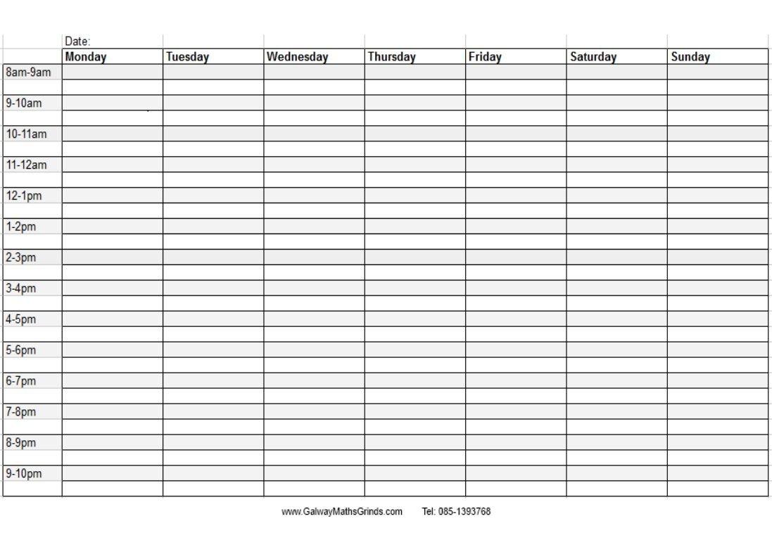 En Özgün Şiirler-En Anlamlı Sözler-Şiirceler: Timetable Blank Printabel Daily/Weekly Meeting Schedule