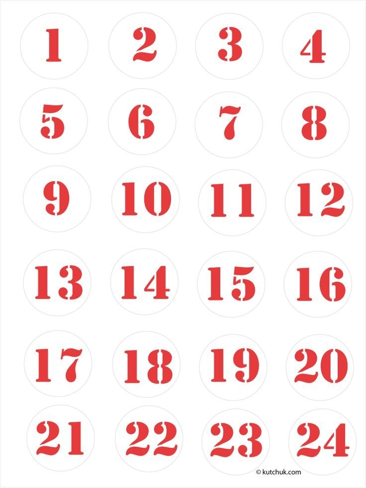 Épinglé Sur Advent Calendar Print Numbers 1 To 31