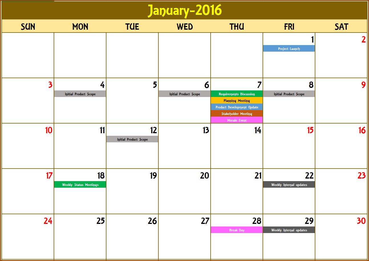 Event Calendar Maker Excel Template V3 - Support Sprint Days Calendar Excel