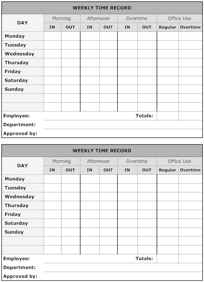Example Image: Weekly Time Record | Sign In Sheet Template 2 Week Time Sheet Printable