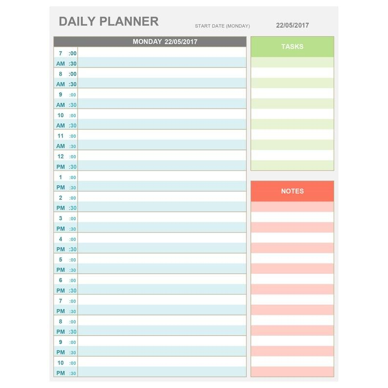 Excel Daily Hourly Planner Printable & Editable. Daily | Etsy Daily Hour By Hour Calendar Printable