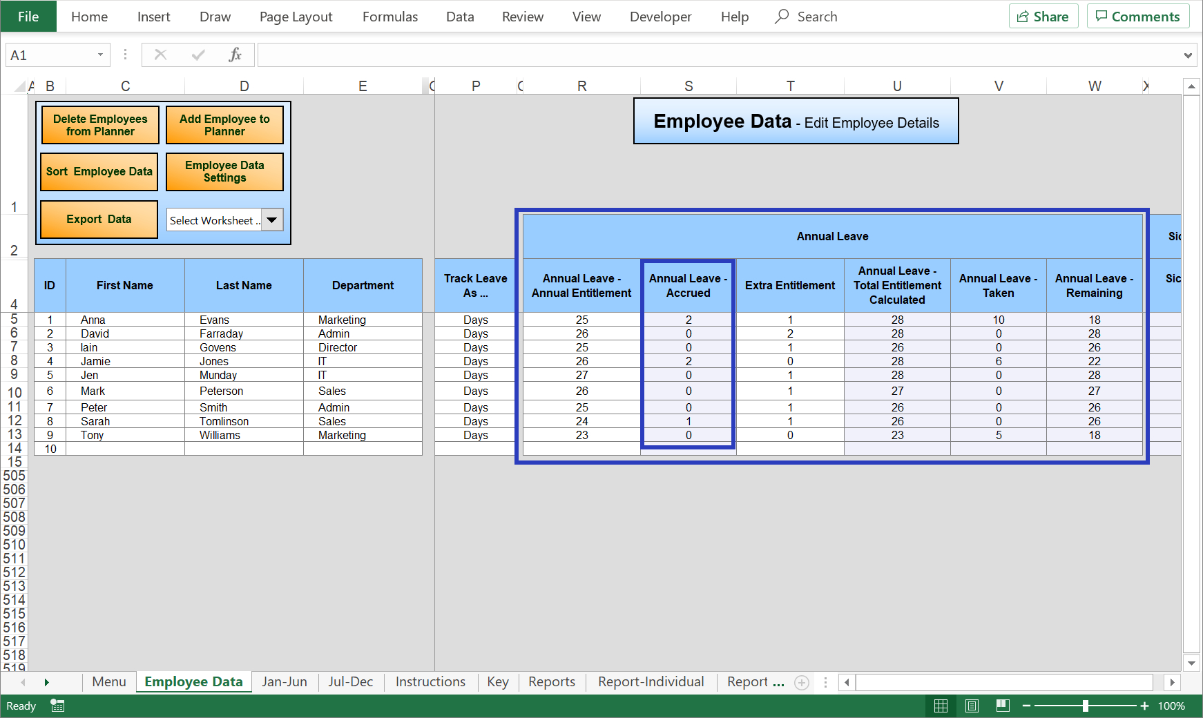 Excel Holiday Planner - Staff Holiday Management Time Off Calendar In Excel