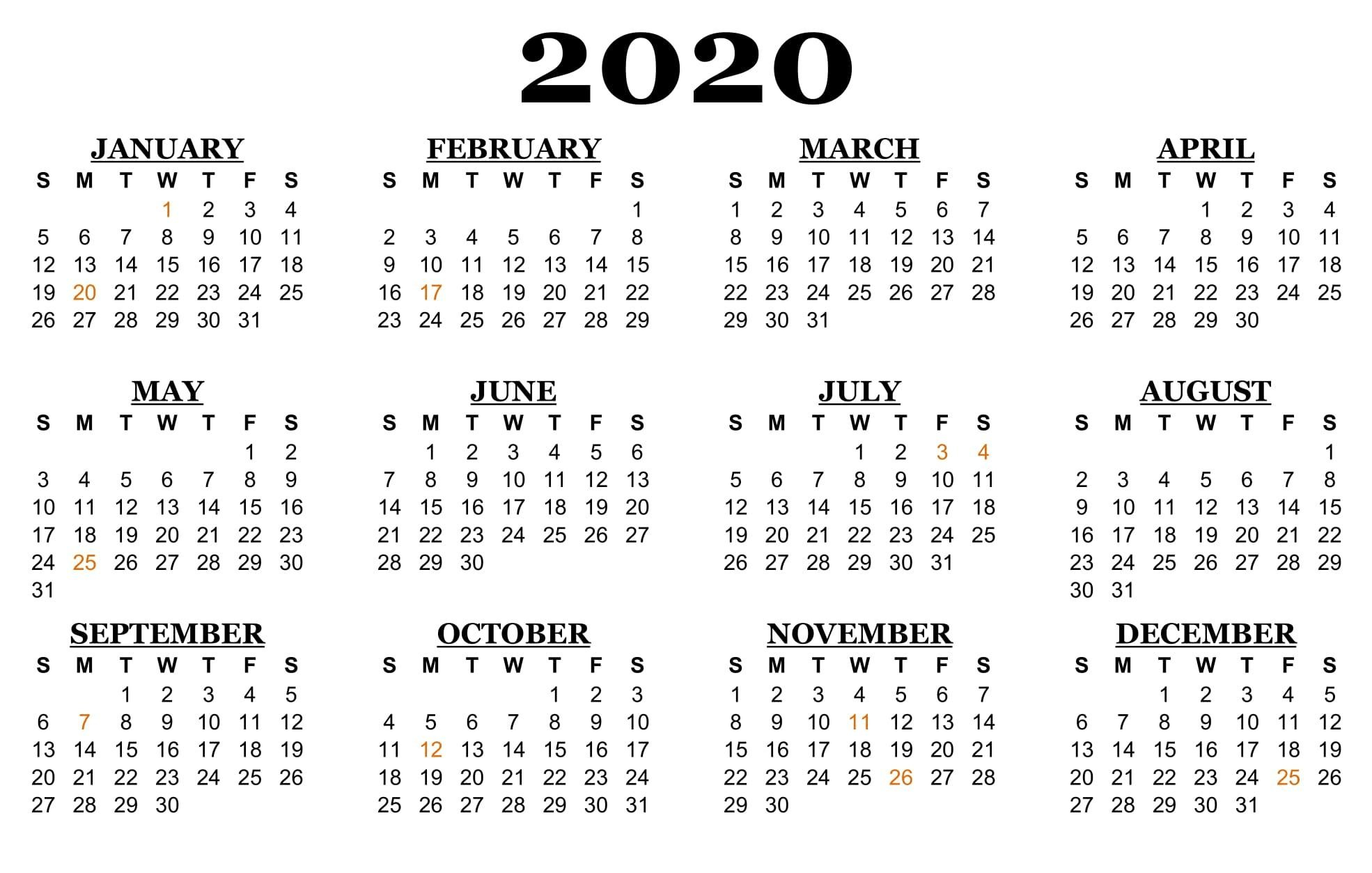 Exceptional Printable Calendar 2020 Holiday List In 2020 Calendar You Can Edit Online