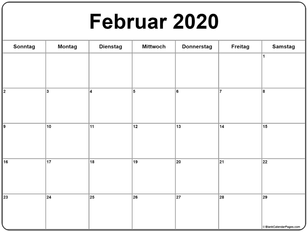 Februar 2020 Kalender | Kalender 2020 In 2020 | Calendar June Calendar Monday Thru Sunday