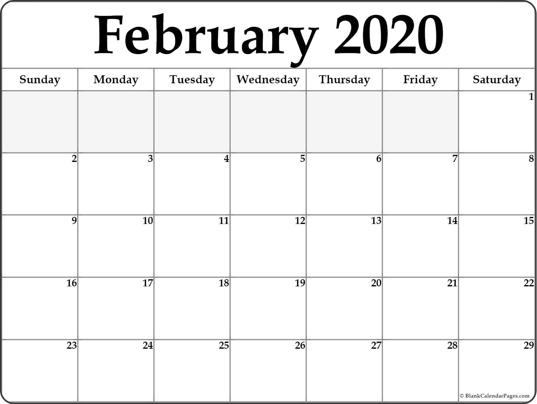 February 2020 Calendar | Free Printable Monthly Calendars Free Blank Calendar Page