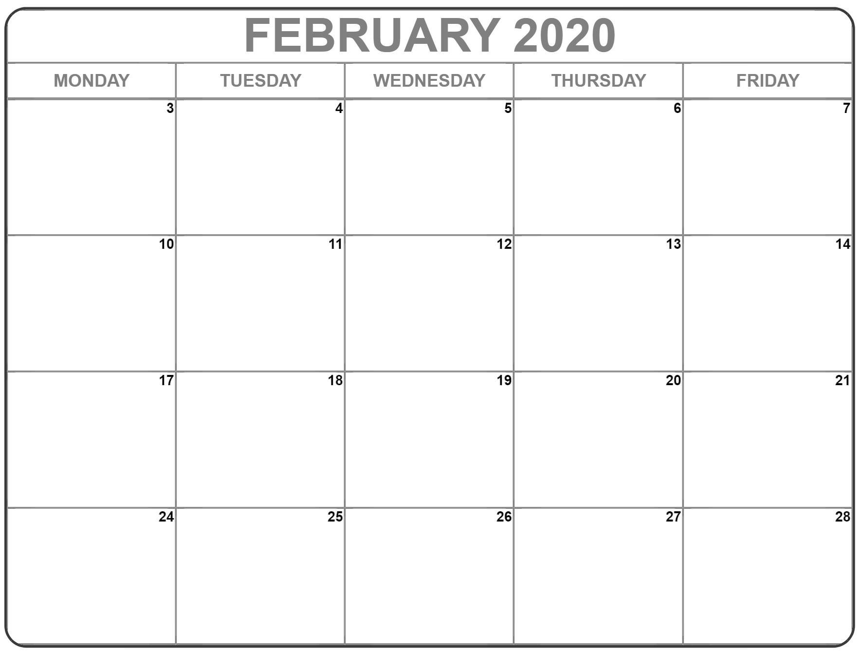 February 2020 Monday Calendar | Monday To Sunday Free Printable Monday Through Friday Calendar