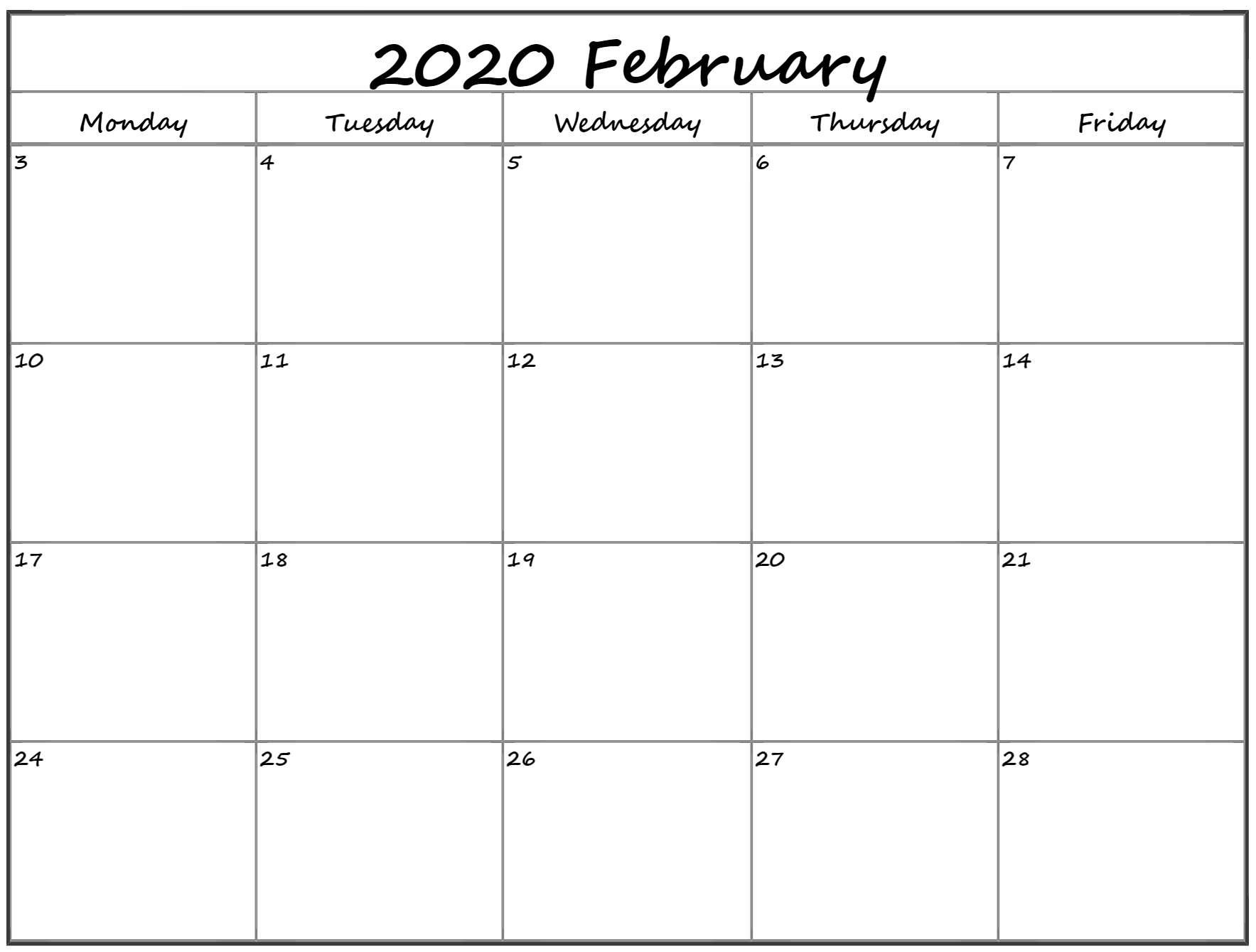 February 2020 Monday Calendar | Monday To Sunday Free Printable Monday To Friday Calendar